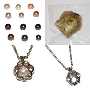 Jewelry - Paw Print Pearl Cage + Oyster Necklace Kit Dog Cat